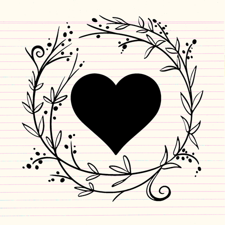Romantic greeting card with floral stylized heart in frame. Vector Illustration Illustration