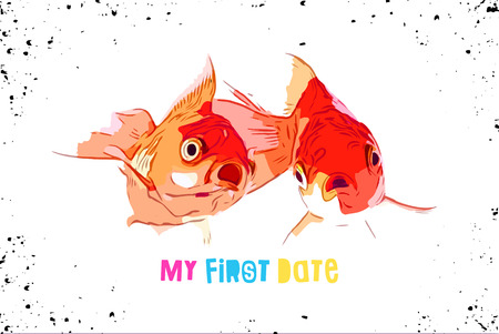Two goldfish make funny faces for the first time ,golden fish characters, cartoon vector illustration isolated