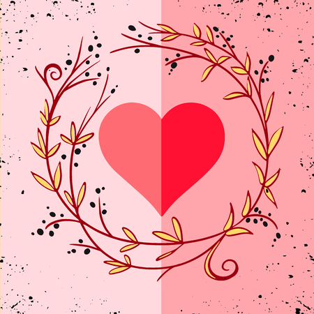Romantic greeting card with floral stylized heart in frame. Vector Illustration Stock Vector - 119013130