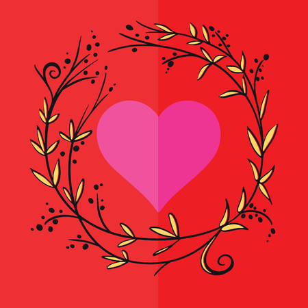 Romantic greeting card with floral stylized heart in frame. Vector Illustration Stock Vector - 125682089