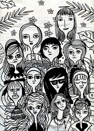 International Women's Day. Vector pattern with women faces,Vector illustration in doodle style