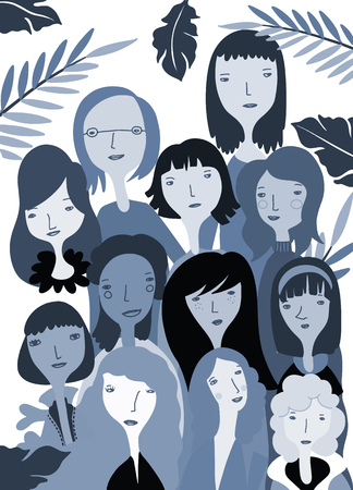 International Womens Day. Vector pattern with women faces,Vector illustration in doodle style