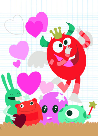 Vector Set of Cute Love Monsters ,Cute monsters group in love with pink heart.Monster. cartoon style. Funny. Bright. Childrens. For your design 일러스트