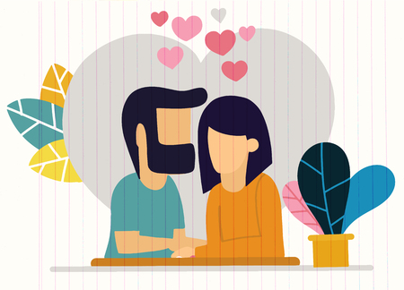 Illustration with romantic dinner. Dating. Valentines day celebration Illustration