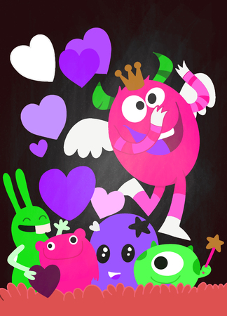 Vector Set of Cute Love Monsters ,Cute monsters group in love with pink heart.Monster. cartoon style. Funny. Bright. Children's. For your design Foto de archivo - 125325907