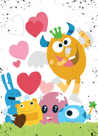 Vector Set of Cute Love Monsters ,Cute monsters group in love with pink heart.Monster. cartoon style. Funny. Bright. Childrens. For your design Иллюстрация