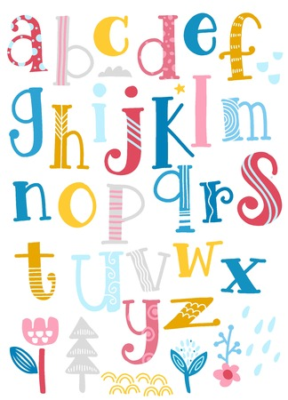 Cute  alphabet with swirls  isolated on white  background for text, inscription, greeting card, typography, title, design, lettering, children, cover