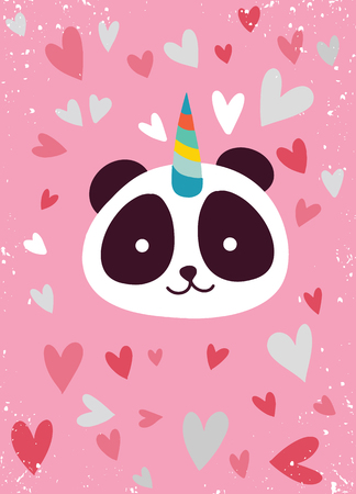 Cute panda with a unicorn horn in the color of the pink heart , Suitable for textiles, postcards, posters, printing, decorating children's item Archivio Fotografico - 119013283