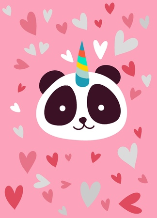 Cute panda with a unicorn horn in the color of the pink heart , Suitable for textiles, postcards, posters, printing, decorating children's item Archivio Fotografico - 119013292