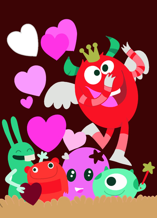 Vector Set of Cute Love Monsters ,Cute monsters group in love with pink heart.Monster. cartoon style. Funny. Bright. Children's. For your design Foto de archivo - 125325913
