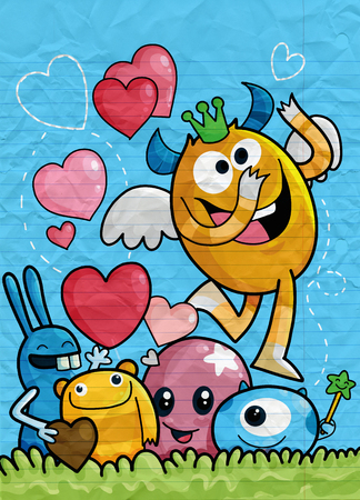 Vector Set of Cute Love Monsters ,Cute monsters group in love with pink heart.Monster. cartoon style. Funny. Bright. Children's. For your design Foto de archivo - 125304858