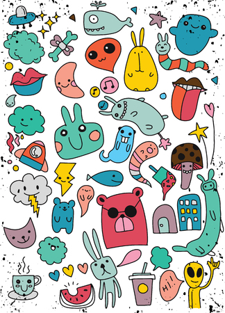 Hand Drawn Vector Illustration of Doodle Kawaii, illustrator line tools drawing,Flat Design ,Set of cute patches design
