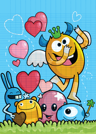 Vector Set of Cute Love Monsters ,Cute monsters group in love with pink heart.Monster. cartoon style. Funny. Bright. Children's. For your design Foto de archivo - 125304861
