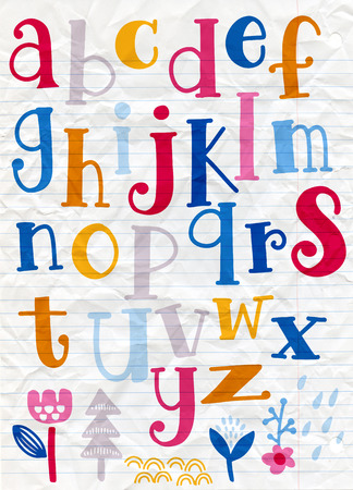 Cute  alphabet with swirls  isolated on background for text, inscription, greeting card, typography, title, design, lettering, children, cover 일러스트