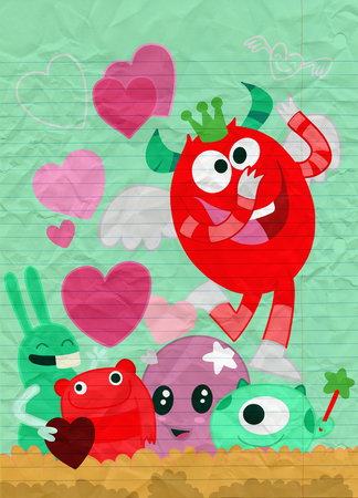 Vector Set of Cute Love Monsters ,Cute monsters group in love with pink heart.Monster. cartoon style. Funny. Bright. Children's. For your design Foto de archivo - 125247489