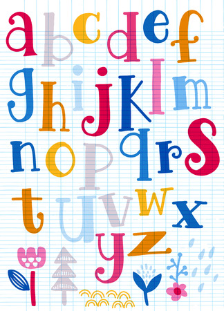 Cute  alphabet with swirls  isolated on background for text, inscription, greeting card, typography, title, design, lettering, children, cover Иллюстрация