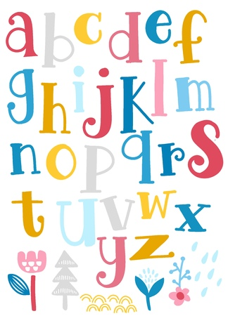 Cute  alphabet with swirls  isolated on background for text, inscription, greeting card, typography, title, design, lettering, children, cover 向量圖像