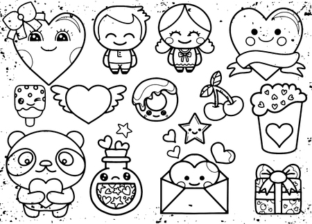Valentines day kawaii icons set,Hand drawn colored vector set. All elements are isolated Ilustrace