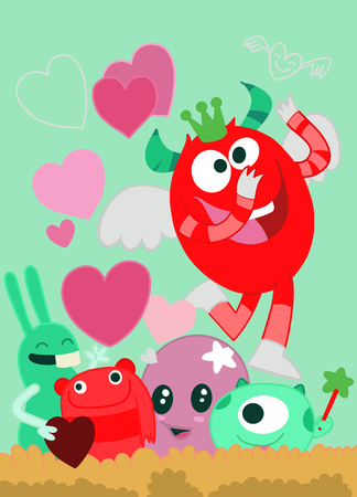 Vector Set of Cute Love Monsters ,Cute monsters group in love with pink heart.Monster. cartoon style. Funny. Bright. Children's. For your design