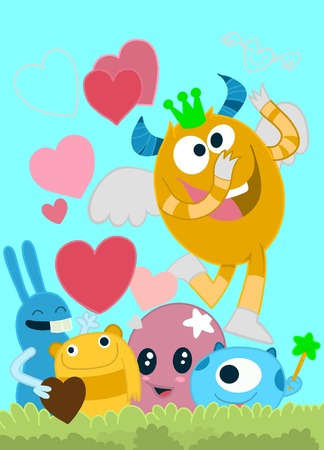 Vector Set of Cute Love Monsters ,Cute monsters group in love with pink heart.Monster. cartoon style. Funny. Bright. Childrens. For your design Illustration