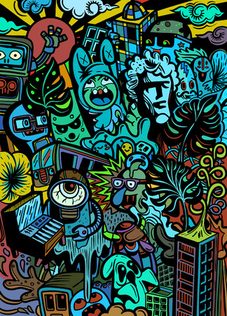 Grupo de monstruos lindos, conjunto de monstruos lindos divertidos sobre contaminación, extraterrestres o animales de fantasía para tarjetas o camisetas. Dibujado a mano ilustración de vector de dibujos animados de arte lineal