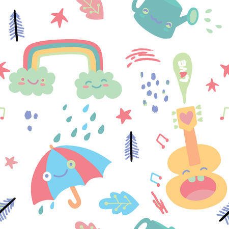 Doodles seamless pattern with cute cartoon, sweets and kawaii characters. Valentines Day pattern for coloring book or design print. Easy to change color.