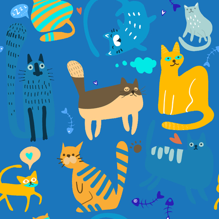 Vector hand drawn sketch illustration of  Cute Cartoon Cat Vector Icons, Seamless Pattern And Background Çizim