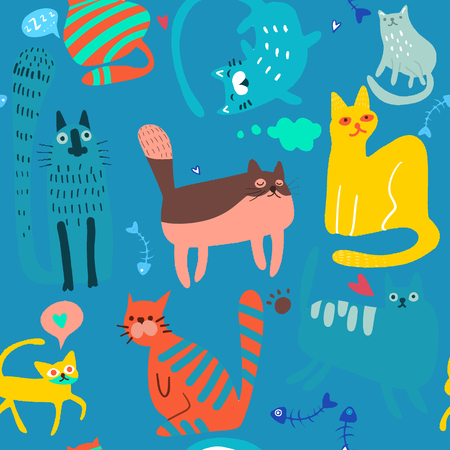 Vector hand drawn sketch illustration of  Cute Cartoon Cat Vector Icons, Seamless Pattern And Background Illusztráció
