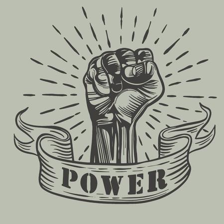 Disegno vettoriale a mano libera มPugno mano maschile, simbolo di protesta proletaria. Segno di potenza, illustrazione vettoriale Vettoriali