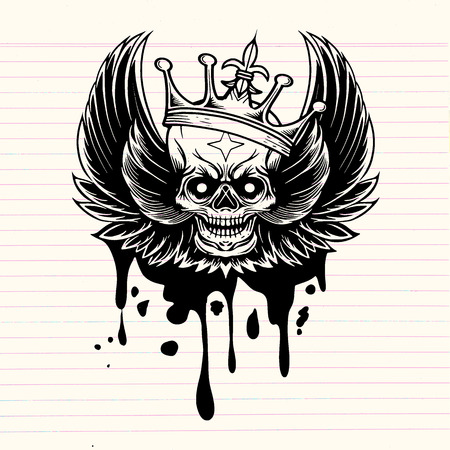 Vector image skull with wings and crown,vintage background. Tattoo vintage design element. Vector illustration