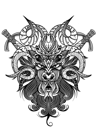 Goat skull in ink graphics technique. Vector illustration of goat skull with  swords on grunge background. Good for posters, t-shirt prints, tattoo design. - Vector