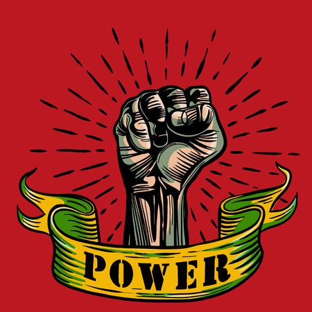 Freehand vector drawing ,Fist male hand, proletarian protest symbol. Power sign, Vector illustration