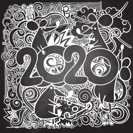 Hand Drawn Vector Illustration of Doodle, Concept image of symbol chinese happy new year 2020. Wild rat. Freehand drawn silhouette small mouse. Lunar horoscope sign. Hieroglyph translation Happy new year and mouse. Vector sketch illustration