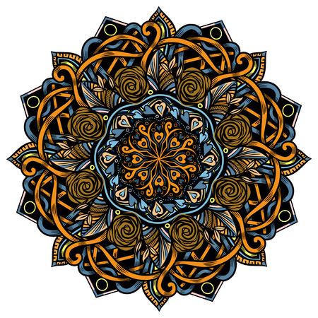 Mandala shoulder tattoo. Stylized flower design element. Vector round ornament. Chakra symbol print oriental floral graphic. Islamic decor Illustration