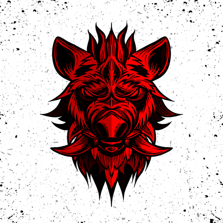 red  head of boar. Pig. Swine. Symbol of 2019. Tattoo design. It may be used for design of a t-shirt, bag, postcard, a poster