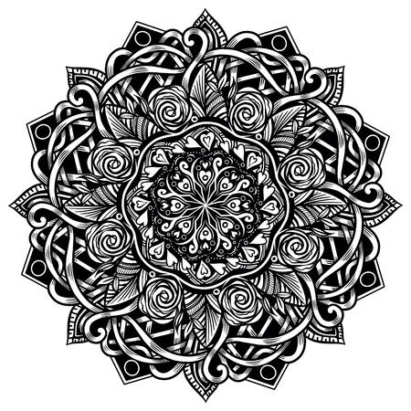 Mandala étnica para libro de colorear para adultos. Patrón redondo blanco y negro en estilo marroquí. Medallón de contorno en estilo étnico. Princesa redonda vintage