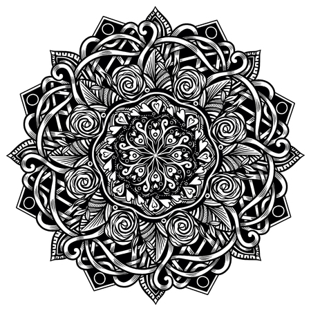 Ethnic Mandala for Adult Coloring Book. Black and White Round Pattern in Moroccan Style. Outline Medallion in Ethnic Style. Vintage Round Prin
