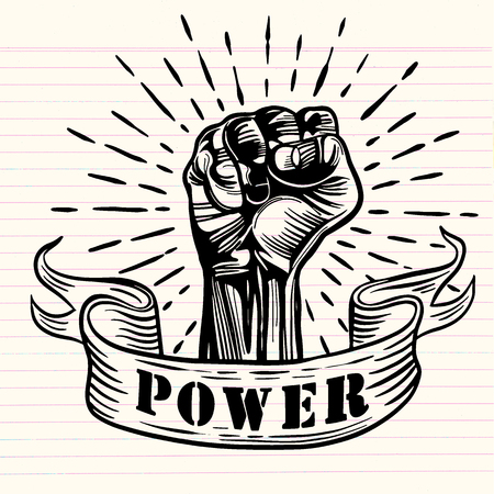 Freehand vector drawing มFist male hand, proletarian protest symbol. Power sign, Vector illustration