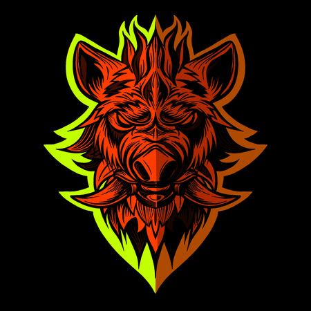 head of boar. Pig. Swine. Symbol of 2019. Tattoo design. It may be used for design of a t-shirt, bag, postcard, a poster Illustration
