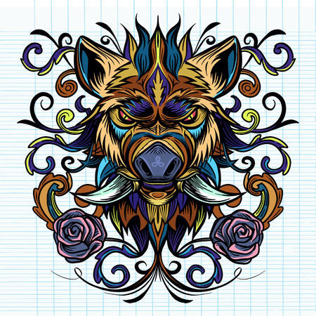 Patterned head of boar. Pig. Swine. Symbol of 2019. Tattoo design. It may be used for design of a t-shirt, bag, postcard, a poster Stock Vector - 124408461