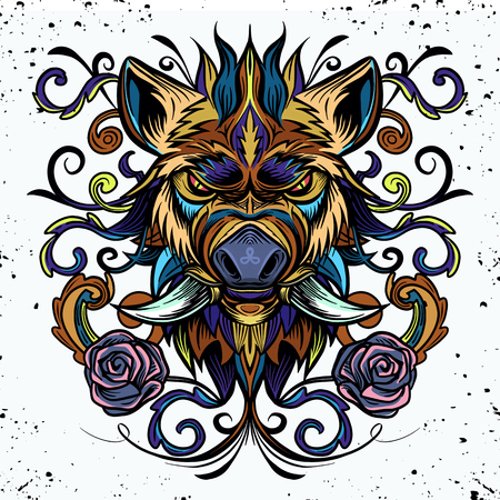 Patterned head of boar. Pig. Swine. Symbol of 2019. Tattoo design. It may be used for design of a t-shirt, bag, postcard, a poster