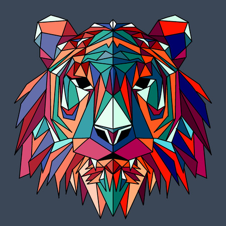 Vector hand drawn sketch illustration of  Tiger head ,Vector. Polygonal geometric wolf head. Abstract linear isolated Tiger Illustration