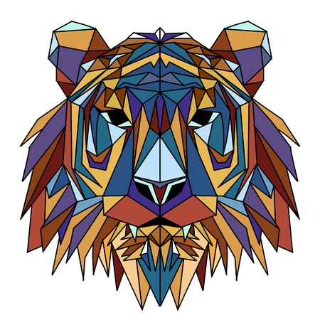 Vector hand drawn sketch illustration of  Tiger head ,Vector. Polygonal geometric wolf head. Abstract linear isolated Tiger Ilustração