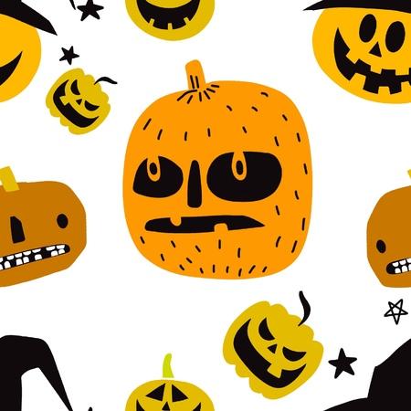 Seamless Halloween Pattern with Pumpkins on black background,seamless pattern Ilustração