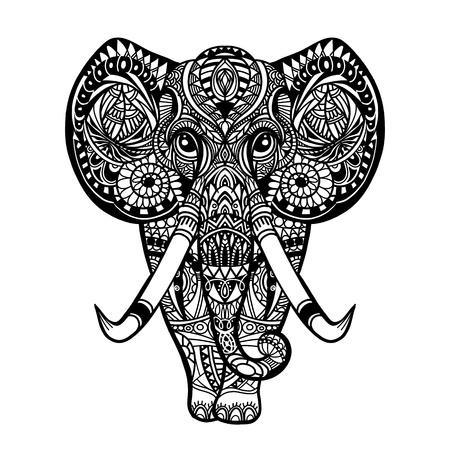 Vettore grafico dell'annata Elefante etnico indiano del loto. Ornamento tribale africano. Può essere utilizzato per un libro da colorare, tessuti, stampe, custodia per telefono, biglietti di auguri