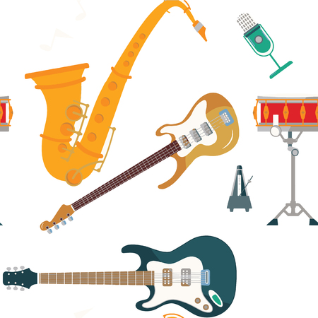 musical instruments set icons stock vector illustration isolated on background,seamless pattern Stockfoto - 124303402