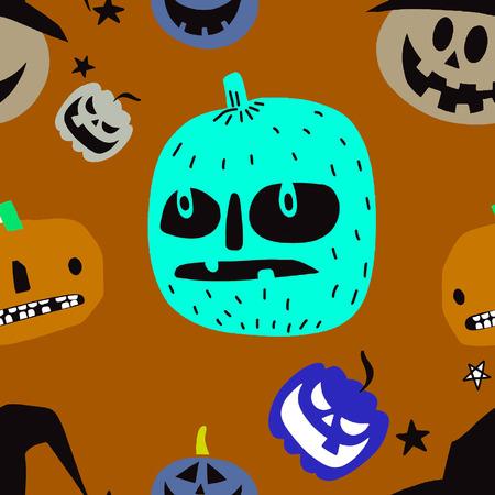 Seamless Halloween Pattern with Pumpkins on black background,seamless pattern