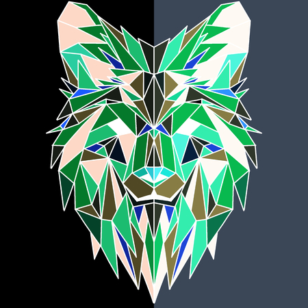Vector hand drawn sketch illustration of  Wolf head ,Vector. Polygonal geometric wolf head. Abstract linear isolated wolf Ilustração