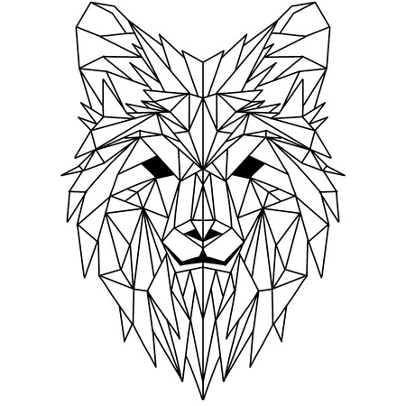 Vector hand drawn sketch illustration of Wolf head ,Vector. Polygonal geometric wolf head. Abstract linear isolated wolf