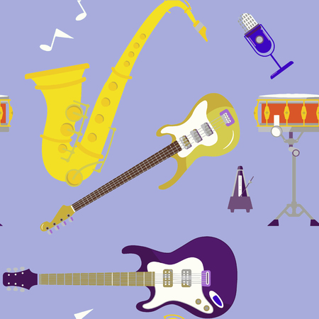 musical instruments set icons stock vector illustration isolated on background,seamless pattern Archivio Fotografico - 124303408